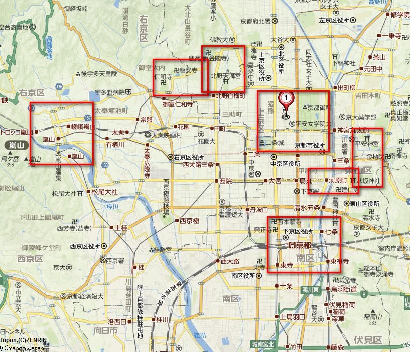赤い枠の箇所が、いわゆる京都らしいエリアです。