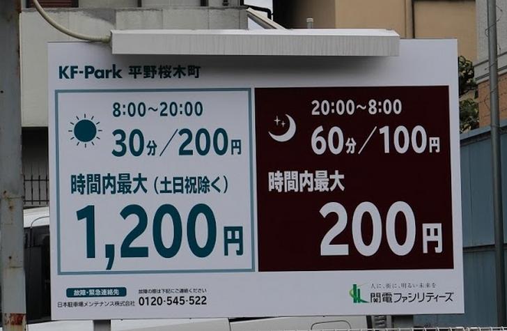 KF-Park平野桜木町コインパーキング駐車料金表