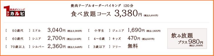 「ワンカルビ」食べ放題の金額