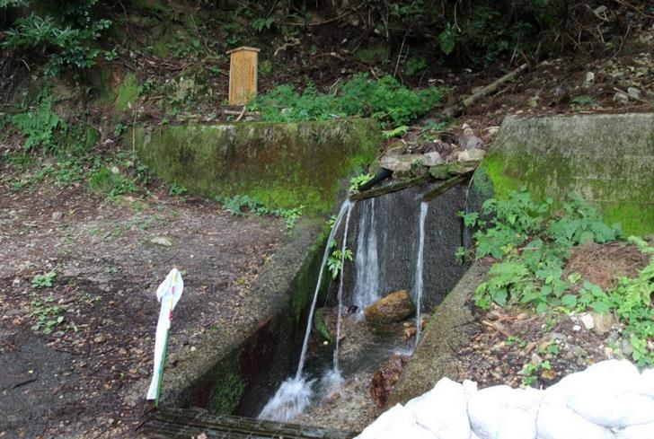 パイプ3本からわき出る天然水