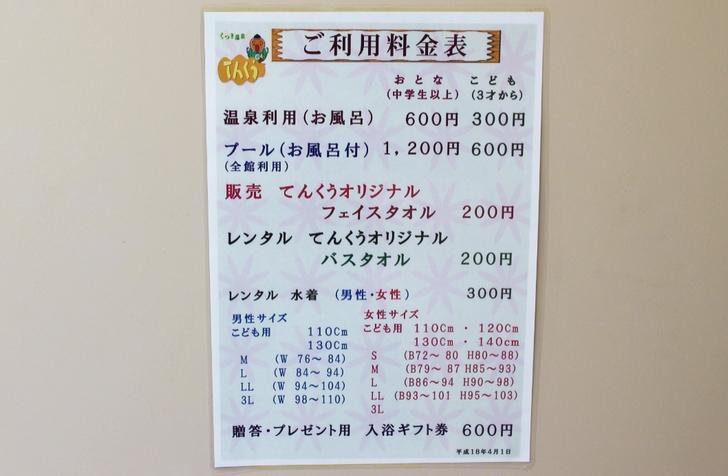 入浴料は600円 広い施設ですが価格は良心的です