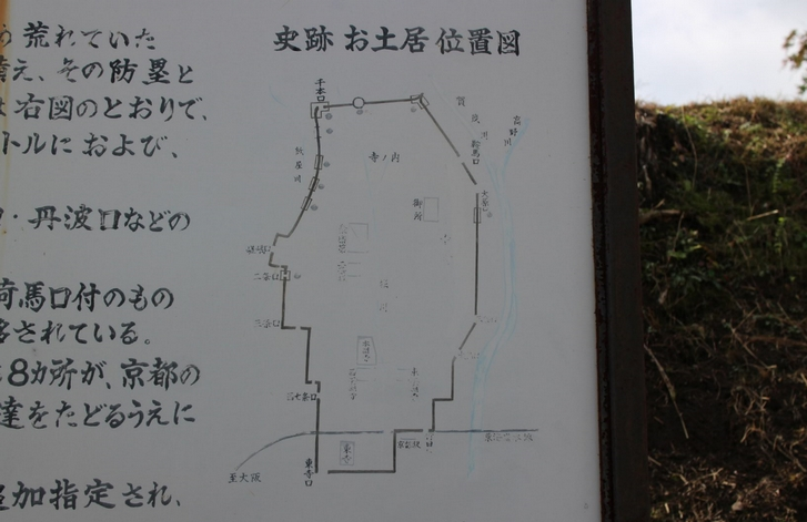 御土居はこれまで千本口(長坂口)からまっすぐ南にあったとされていました
