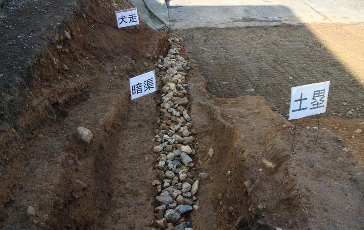 石が敷き詰めてある箇所が暗渠(あんきょ)