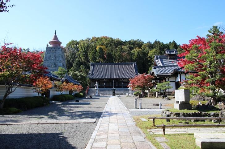 お寺の中 左に見えるのが仏舎利塔