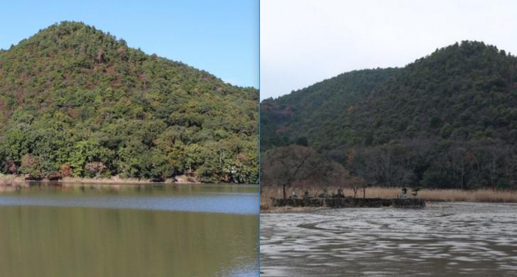 左が平常時・右が水抜きした広沢池