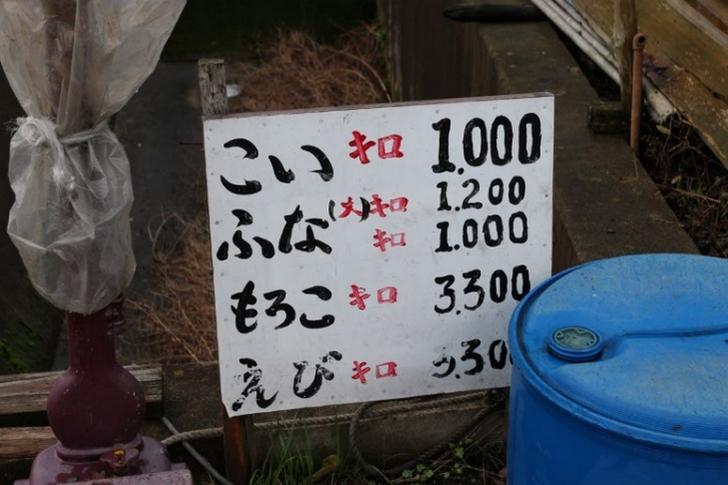 鯉は1キロ1000円、エビなどは3300円でした