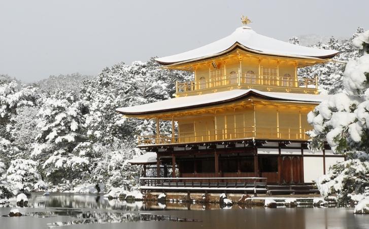 京都・雪の金閣寺 2017年1月15日 撮影