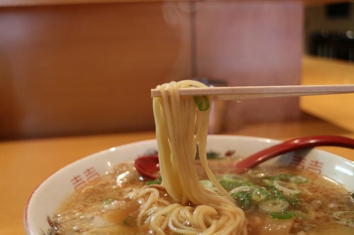 麺は中細ストレート麺、動物系スープの匂いがかなりします