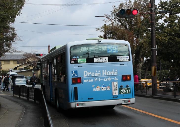 金閣寺前の京都市バス59系統