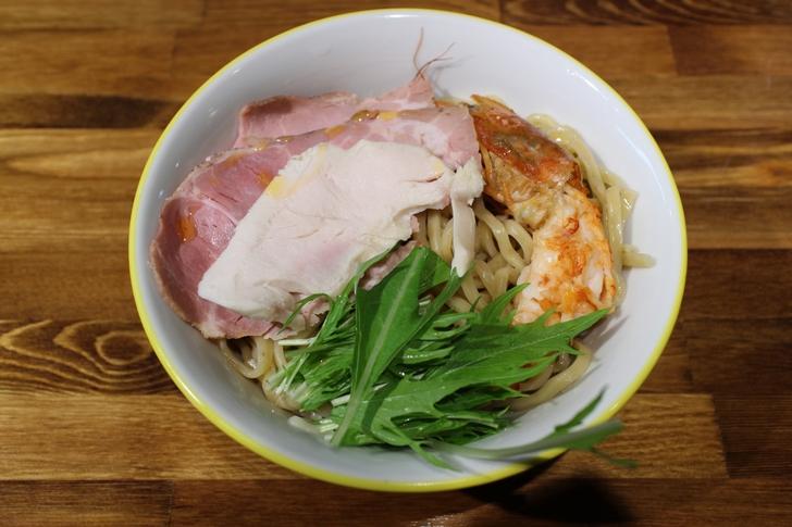 海老ポタdeつけ麺 1100円(写真は麺のみ)