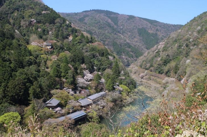 「嵐山公園 亀山地区」の展望台から見た奥嵐山
