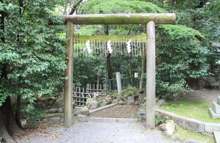 社殿の左にある木製鳥居の先に「三柱鳥居」があります