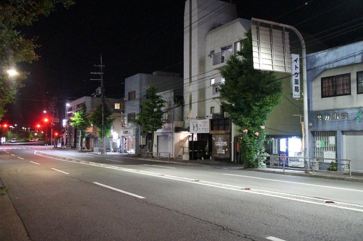 ぼんやりと薄暗い京都「花園駅」前
