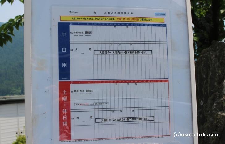 2017年5月30日の「野村バス停(南行き)の時刻表
