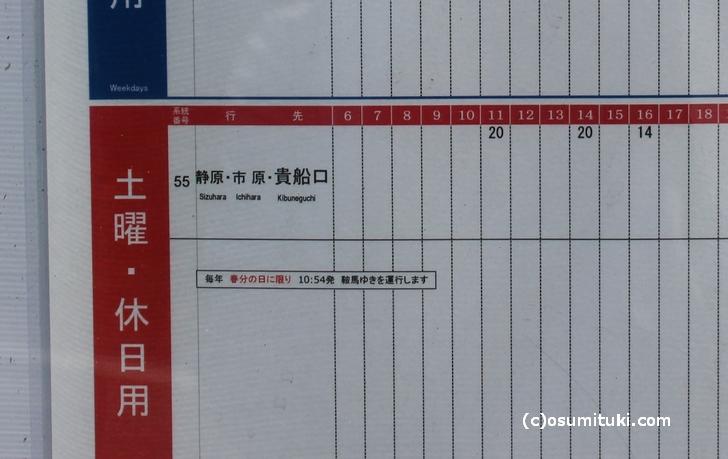 95系統は片道1便なので「江文神社前」バス停の片側にしか時刻表がありません