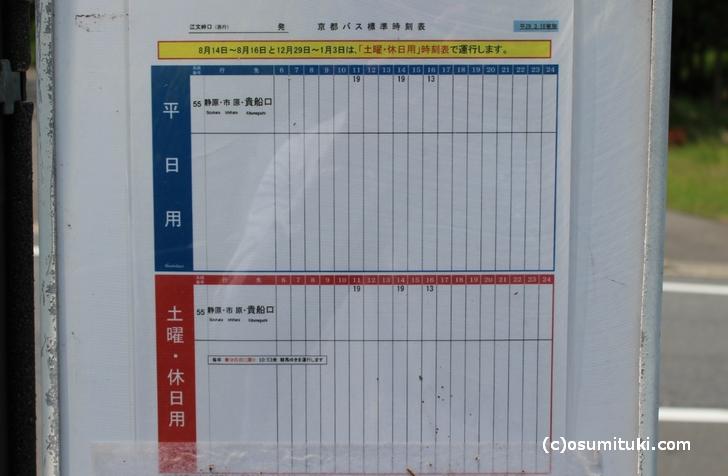 2017年5月30日の「江文峠口バス停(南行き)の時刻表