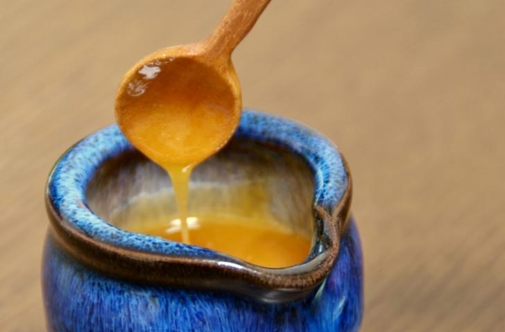 ブルーベリーの受粉のために飼ったミツバチから蜂蜜を採取