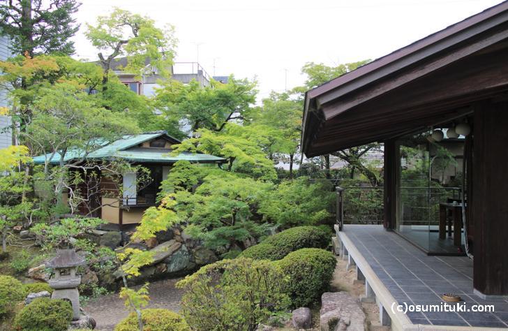 水琴亭の庭、右がテラス席です
