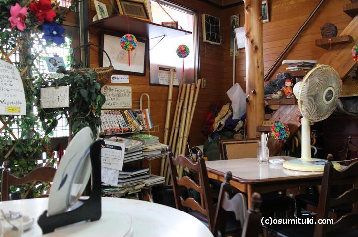 謎の竹、テーブルには謎の皿と扇風機