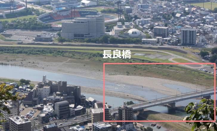 長良橋と長良川(岐阜城から撮影)