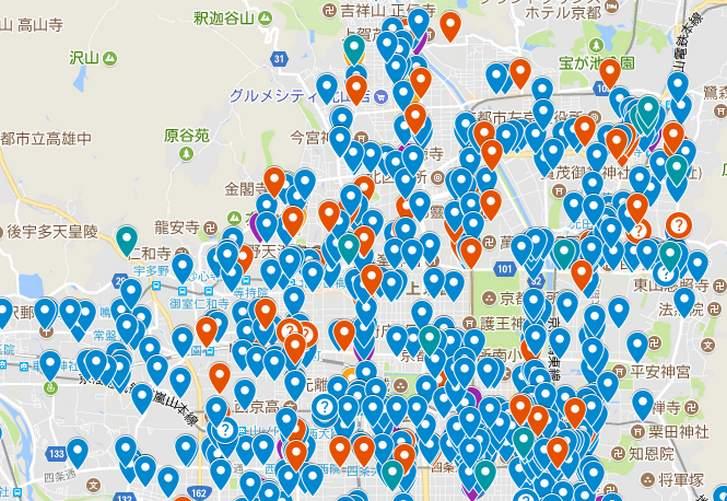 京都のラーメン分布図