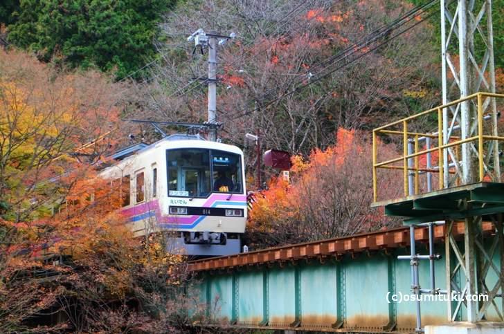 貴船口駅の叡電車両の写真と紅葉