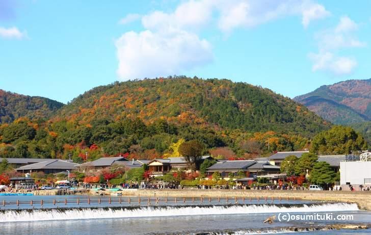 渡月橋から見た嵐山の「小倉山」