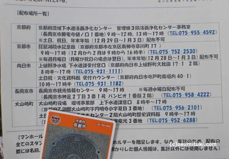 京都のマンホールカード配布場所一覧
