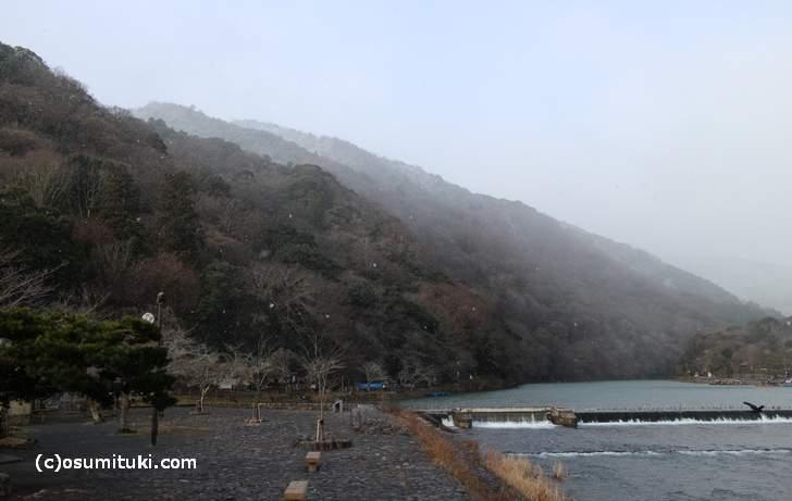 嵐山は雪や雨であることが非常に多いです