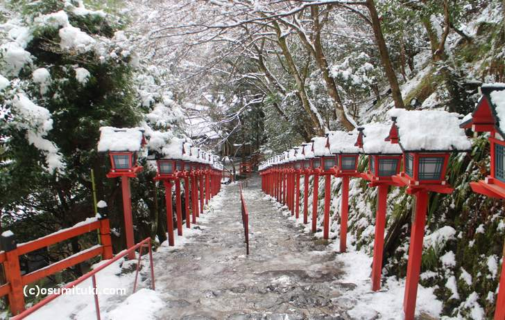 京都・貴船の降雪状況(2017年12月14日11時 撮影)