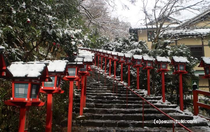 貴船神社参道の積雪写真