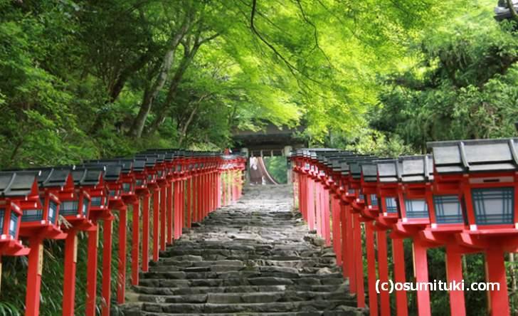 京都の貴船神社は山奥にあるので夏でも涼しい神社です