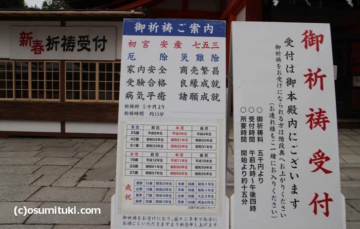 八坂神社のご祈祷は本殿の左側で受付所があります