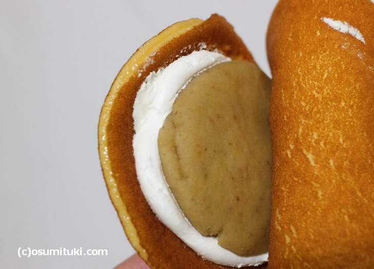 栗あんと生クリームという和洋折衷なお菓子です