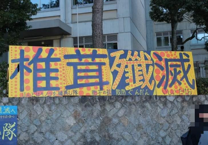 京都大学のある「百万遍交差点」に椎茸殲滅の看板が設置されています