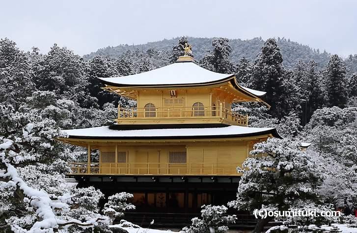 雪の金閣寺(2018年1月14日10時撮影)