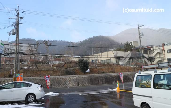 京都の原谷では雪が降っていました(2018年1月25日12時撮影)