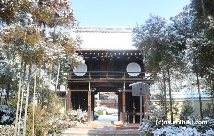 京都・源光庵の降雪状況(2018年1月27日11時頃撮影)