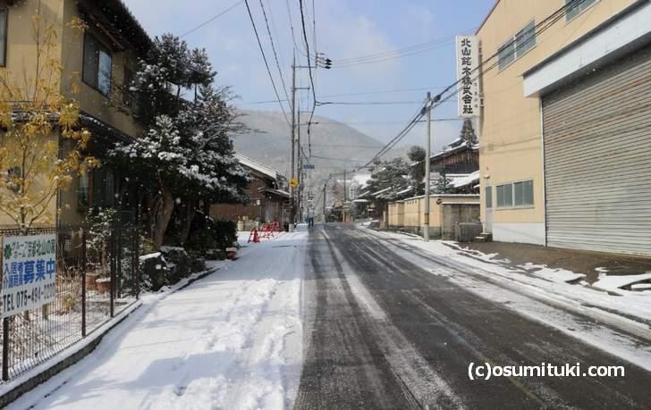 千束坂の降雪状況(2018年1月27日11時頃に撮影)