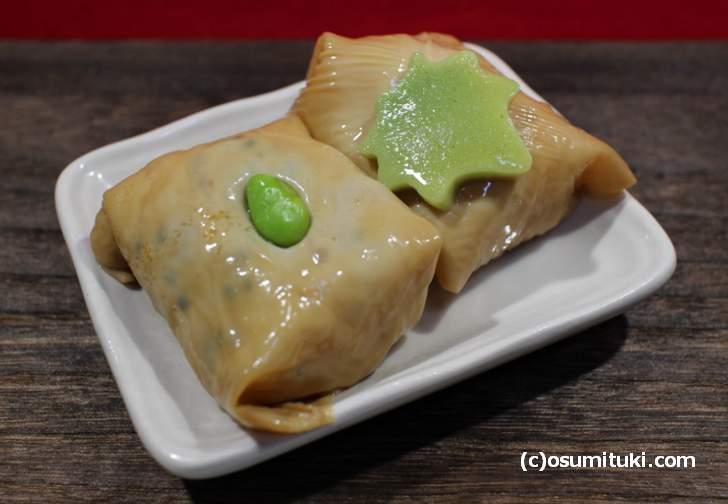 湯葉で巻いた寿司「おたぬきさん」