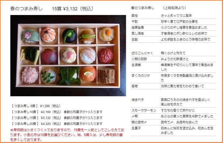 和菓子みたいな寿司「つまみ寿司」などもオンラインショッピング可能です
