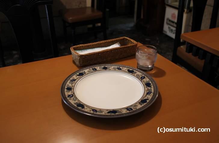 まず最初に出てくるのが水と皿