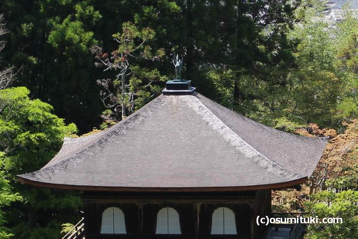 銀閣の屋根の上、お魚がいるようには見えませんが?
