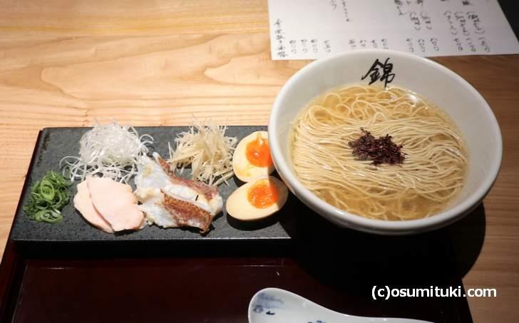 祇園の新店「らーめん錦」の錦御膳(塩ラーメン)