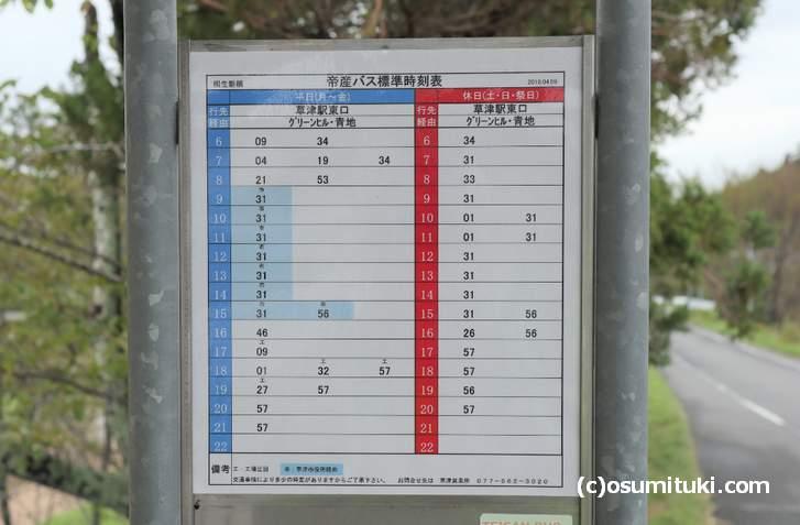 帝産バス「桐生新橋バス停」の時刻表