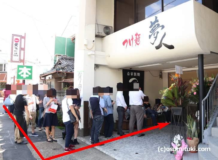 店頭の左が後方の並び方(つけ麺夢人)