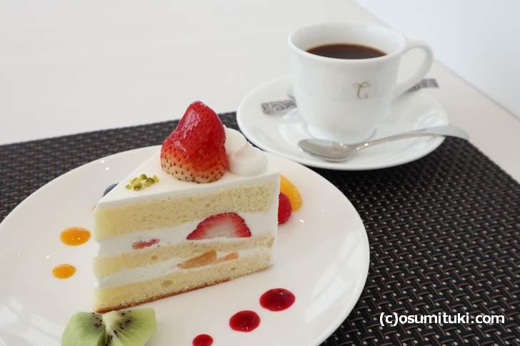 ショートケーキと本格コーヒーのセットがワンコイン(カフェ Miyabi)