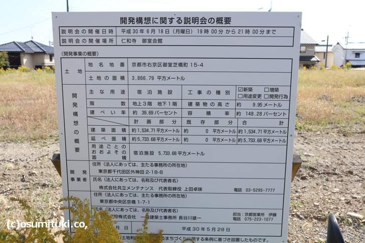 星野リゾート 御室仁和寺 開発構想についての告知看板