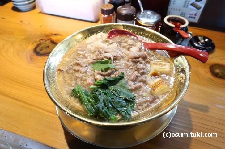 黒毛和牛特製ラーメン(醤油)1300円(ラーメン宝 萬両本店)