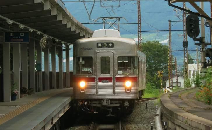 長野駅から湯田中駅へ向かう長野電鉄